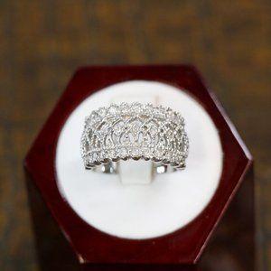 Filigree Cubic Zirconia Sterling Ring